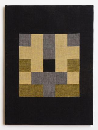 "Untitled (Black Gold Blocks), 2018, linen, 23"" x 17"""