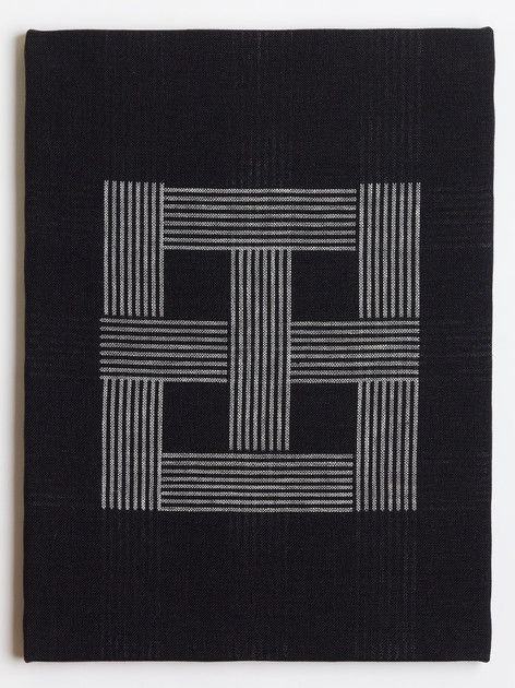 "Untitled (Black Windowpane), 2018, linen, 23"" x 17"""
