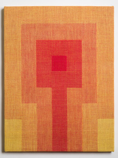 """Untitled (Fade:Yellow to Red), 2018, linen, 21.5"""" x 16.5"""""""