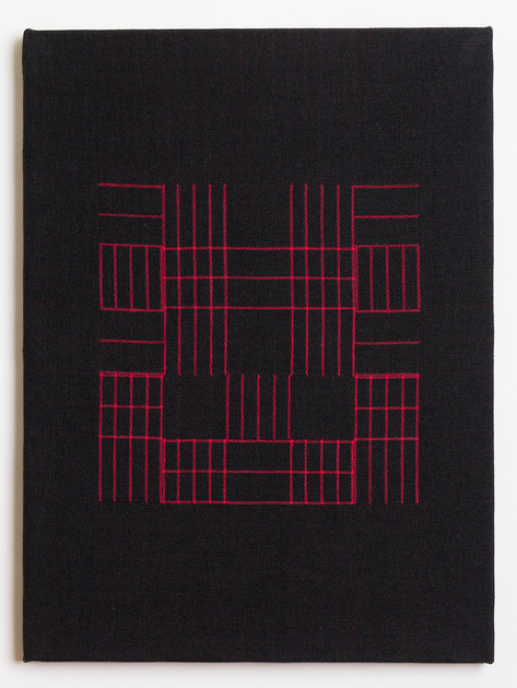 "Untitled (Black Red Grid), 2018, linen, 23"" x 17"""