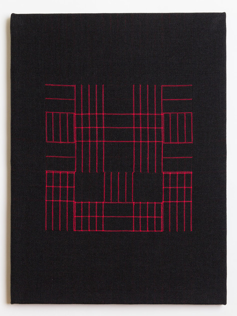 "Untitled (Black Red Grid), 2018, linen, 23"" x 17"""