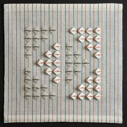 "Diamond Square, 2015, linen, 25"" x 25"""