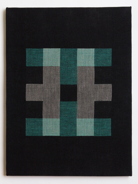 "Untitled (Black Teal Blocks), 2018, linen, 23"" x 17"""