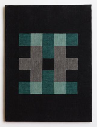 "Untitled (Black Teal Blocks), 2018, linen, 23"" x 17"""