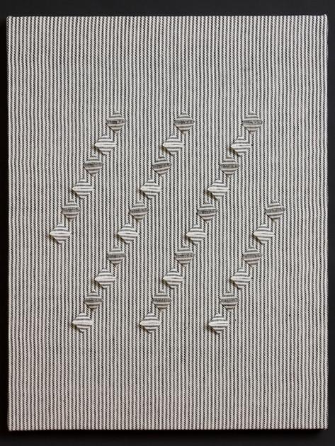 "Untitled (BW Stripes Rain), 2017, linen, 27"" x 21"""