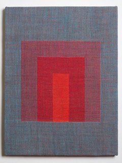 """Untitled (Homage:Red Blue), 2018, linen, 21.5"""" x 16.5"""""""