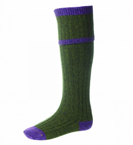 House Of Cheviot Kyle Socks In Scots Pine & Heather
