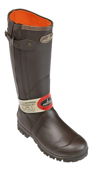 Percussion Rambouillet Hunting Brown Wellington Boots Full Zip