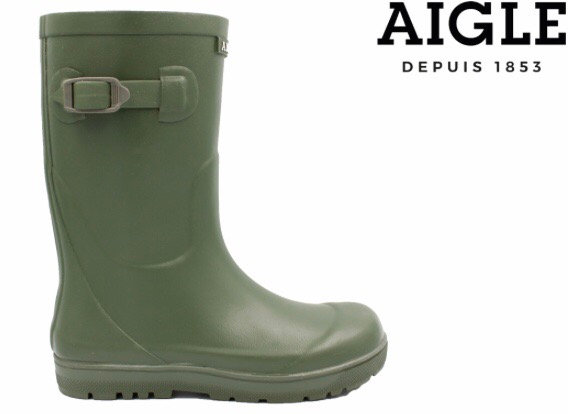 Woody Pop 2 Kaki Childrens Boots by Aigle Rubber Wellingtons