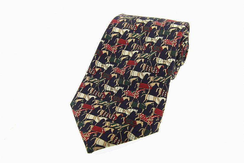 Soprano Silk Tie Medieval Horse Pattern