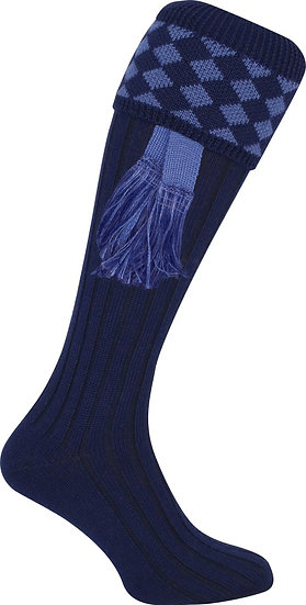 Jack Pyke Harlequin Shooting Socks with Matching Garters Navy/Blue