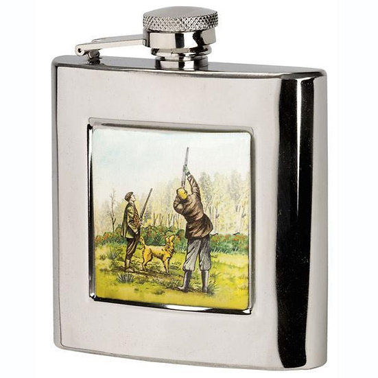 Bisley 6oz Square Hip Flask & Funnel - Shooters In A Presentation box