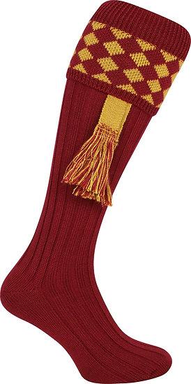 Jack Pyke Harlequin Shooting Socks with Matching Garters Burgundy/Gold