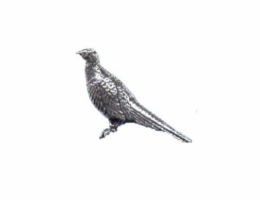 Standing Pheasant Pewter Pin