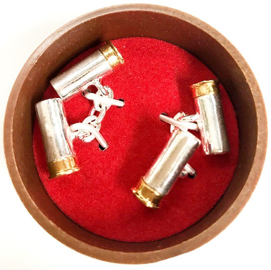 Bisley Cartridge Cufflinks With Chain Silver Plated