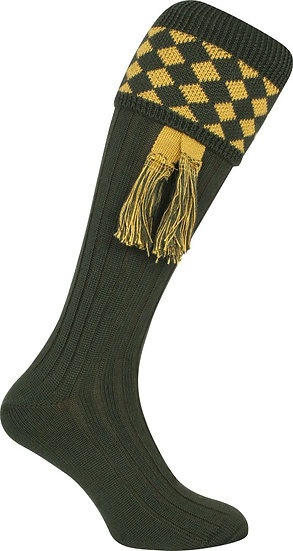 Jack Pyke Harlequin Shooting Socks with Matching Garters Green/Gold