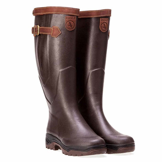 Aigle Parcours 2 Signature Wellington Boots Leather Lined Brown