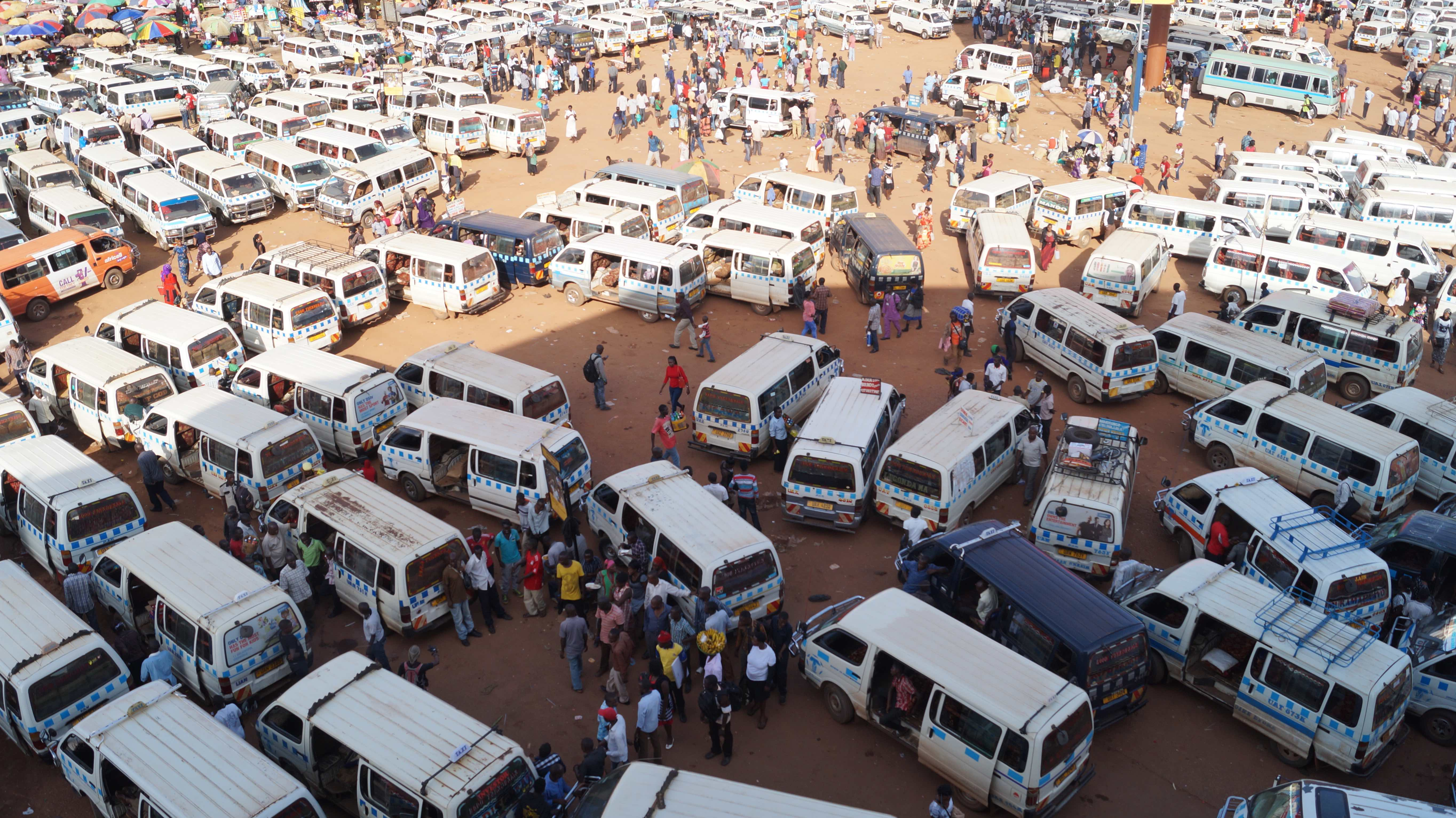 Mini bus station in Kampala, Uganda