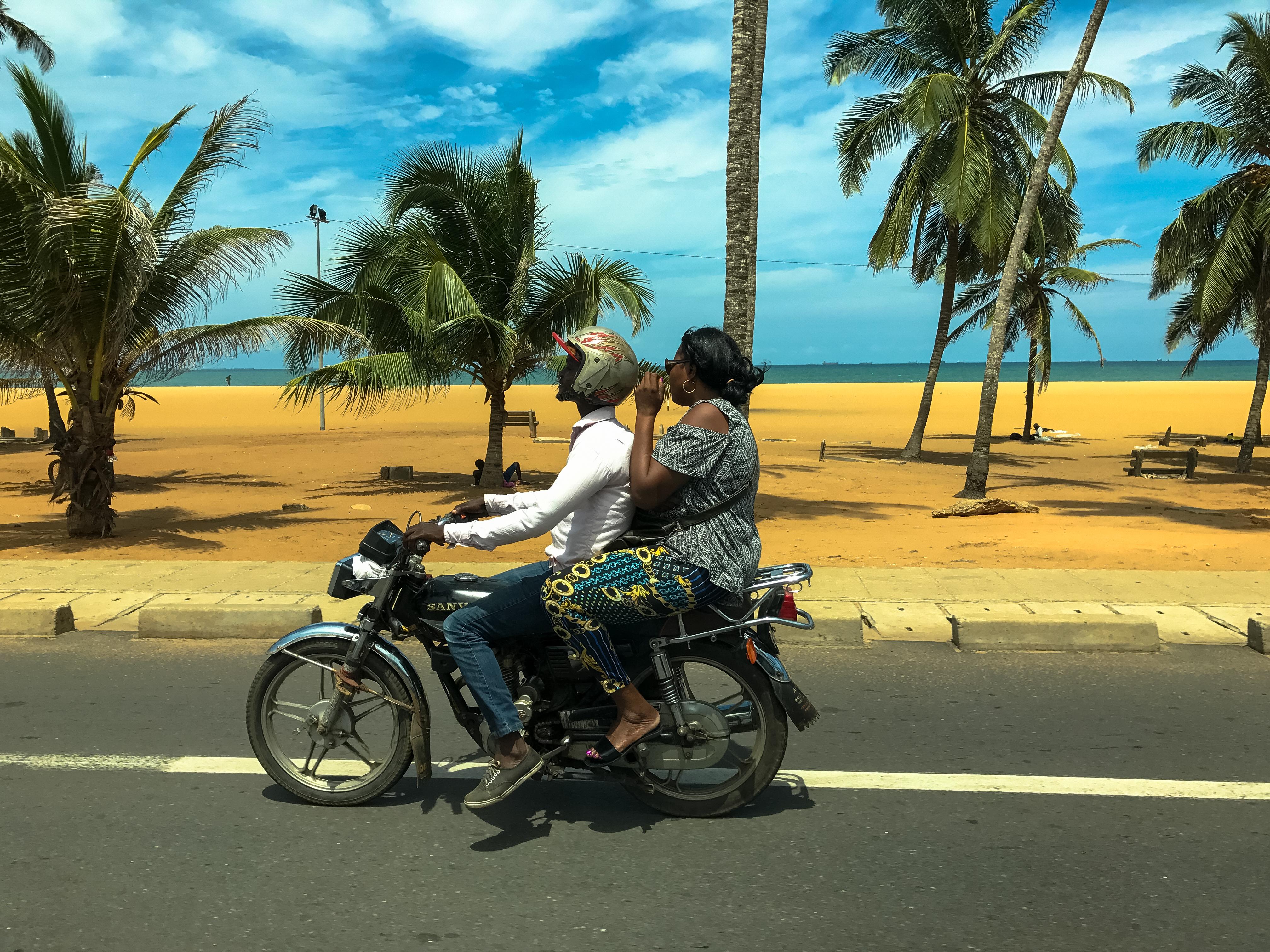 Zemidjan by the beach, Lomé, Togo