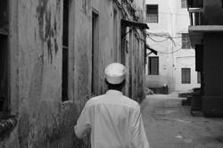Black & White, Man Walking in Stone Town, Zanzibar