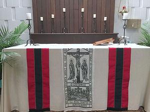 Bishop Shipp's hanging of Crucifixion.jpg