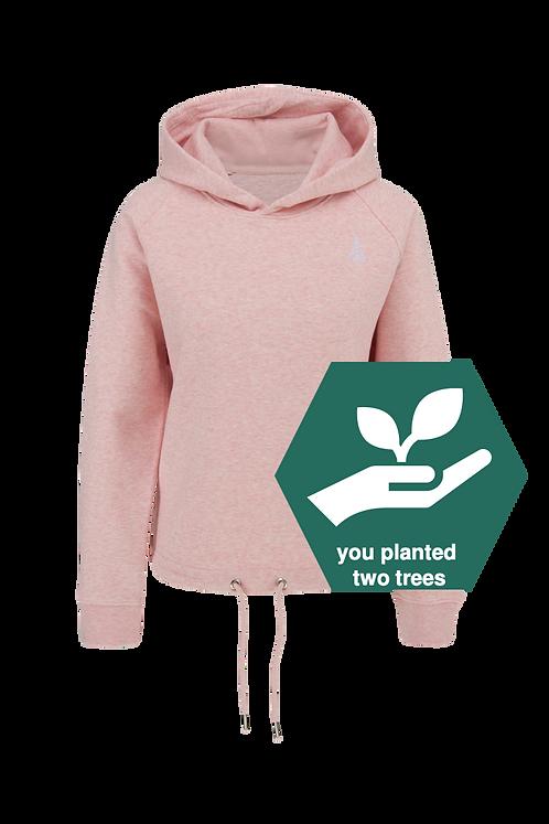 Ladie's Crop Hoodie–salty Himalaya pink