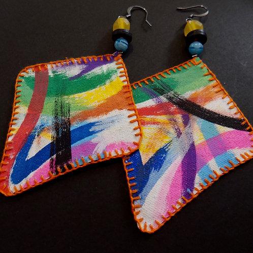 Rainbow Flow Art Earrings