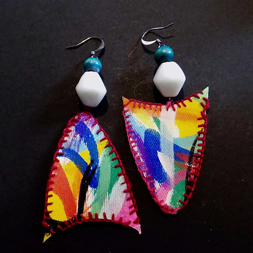 Rainbow Flow Art Earrings