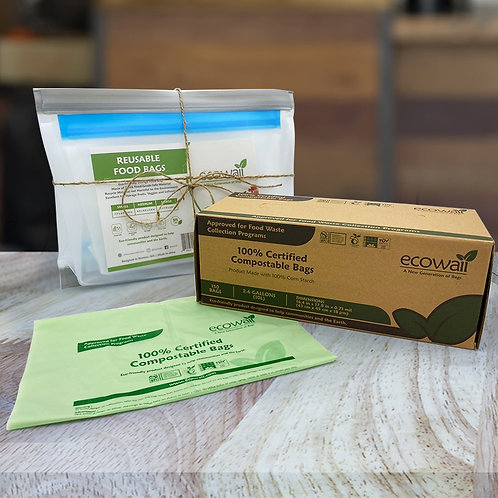 1 Ecowaii Compostable Box with 9 Set Food Storage Bags