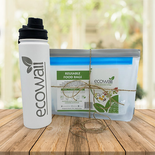 6 Set Ecowaii Food Storage Bags with Ecowaii Reusable Water Bottle