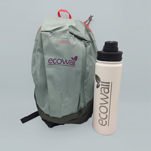 Water Bottle + Backpack (Light Grey)