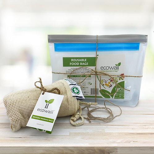 9 Set Ecowaii Food Storage Bag with 9 Set Reusable Bags