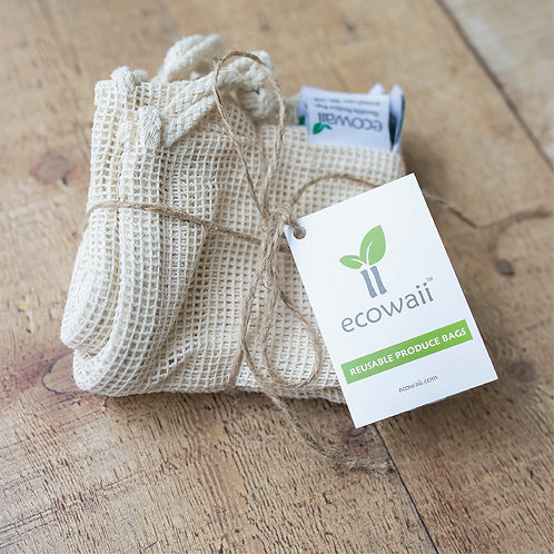 Set of 3 Small Bags - Ecowaii Reusable Produce Bags (Size: 8x10 in)