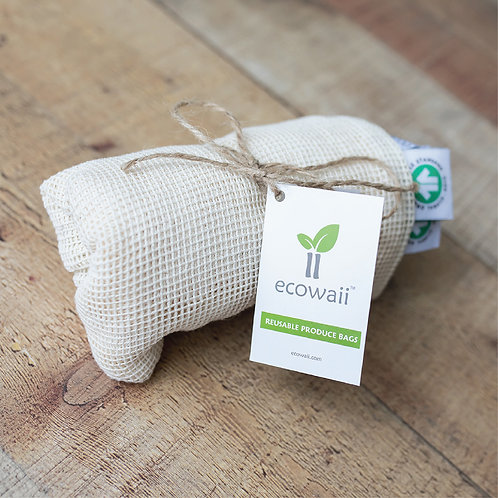 Set of 3 Large Bags - Ecowaii Reusable Produce Bags (Size: 14x12 in)