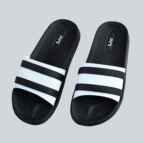 迷霧線條休閒拖鞋-黑