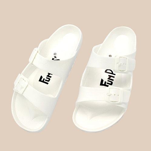 樂活雙排扣室外拖鞋-白