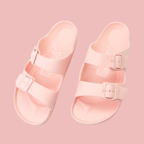 樂活雙排扣室外拖鞋-粉橘
