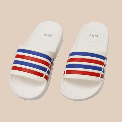 兒童潮流雙色帶拖鞋-白