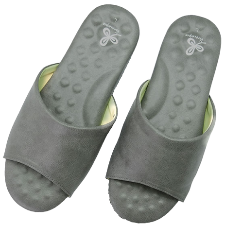 優質乳膠室內皮拖鞋-灰
