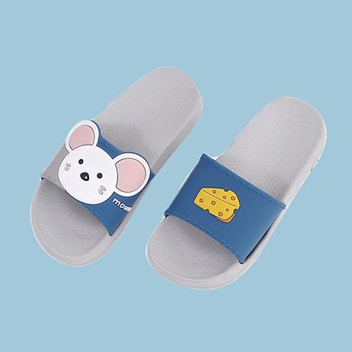 萌萌動物親子室外拖鞋-老鼠藍