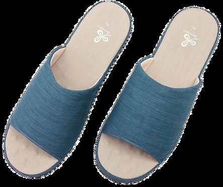 冰咖啡紗舒壓乳膠室內拖鞋-藍