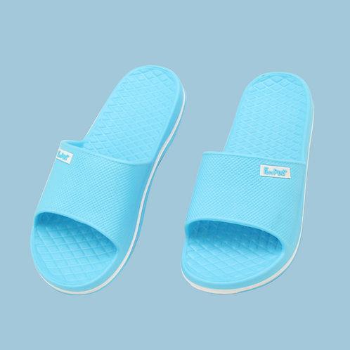 晶亮菱格紋室外拖鞋-水藍