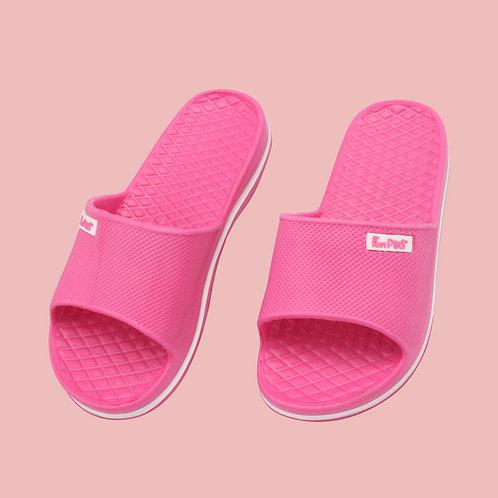 晶亮菱格紋室外拖鞋-桃