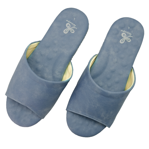 優質乳膠室內皮拖鞋-深藍