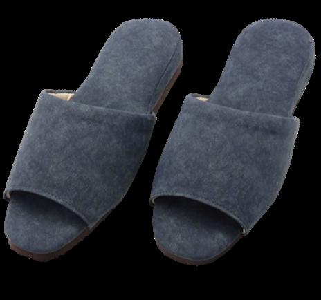 日式風尚室內皮拖鞋-深藍