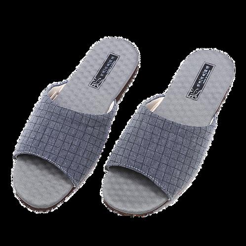方格竹炭機能乳膠室內拖鞋-藍