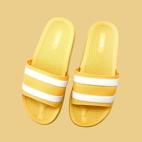 迷霧線條休閒拖鞋-黃