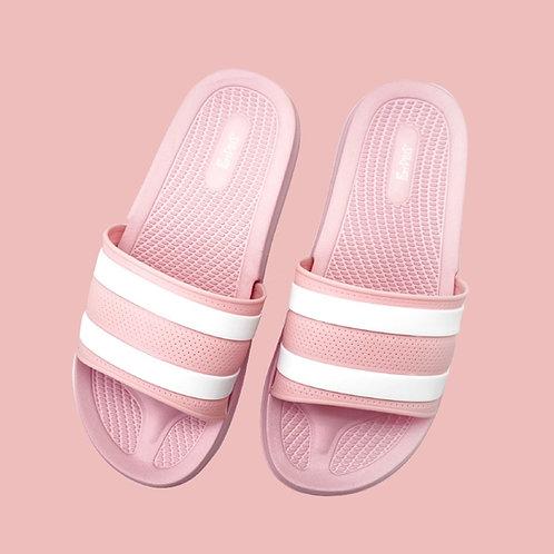 迷霧線條休閒拖鞋-粉紫