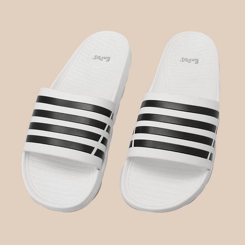潮流雙色帶成人拖鞋-白