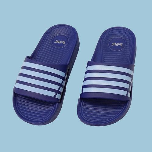 兒童潮流雙色帶拖鞋-藍